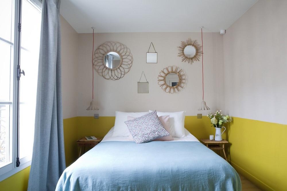 phong cách phòng ngủ sơn tường một nửa